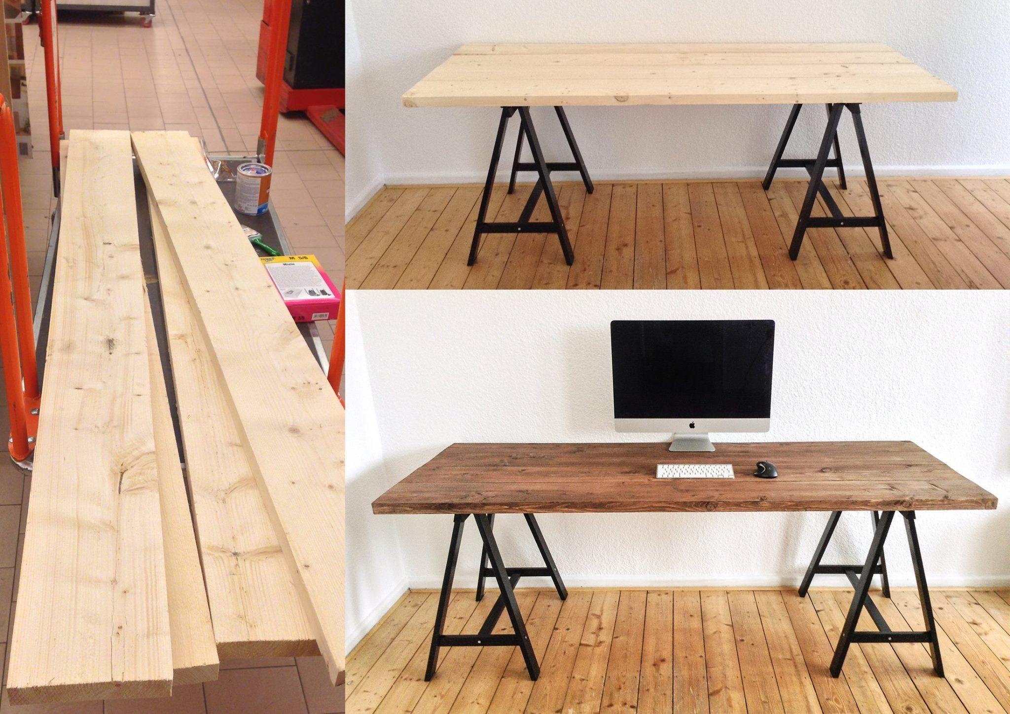 schreibtisch holzbocke. Black Bedroom Furniture Sets. Home Design Ideas