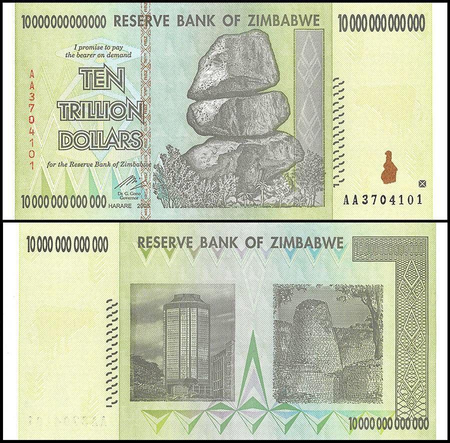 Zimbabwe 10 Trillion Dollars AA//2008 Banknote UNC,100 Trillion Series P-88