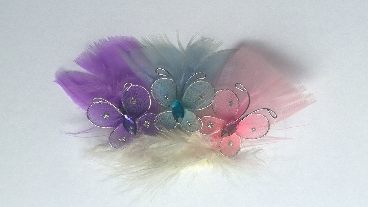 Soft Pastel Feather Butterfly Hair Clip Tabi's Elegant Hair Pieces by TabiCreativeCreature on Etsy