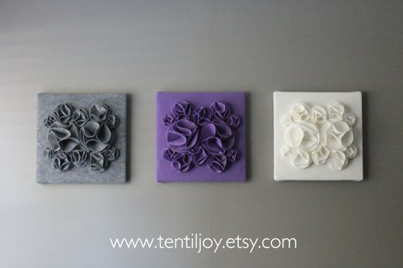 "Three Wall Art Canvases, Purple, Gray and White Nursery Wall Art, 3D Wall Decor, Felt 12x12"" Wall Hangings, Lavender Purple Nursery Art"