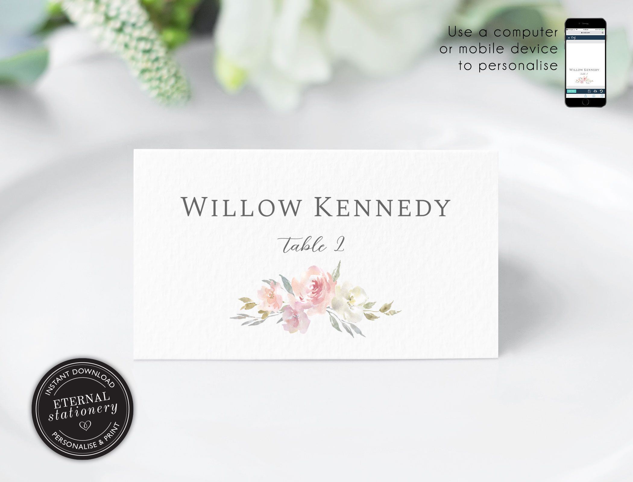 Soft Floral Watercolor Place Card Template Blush Pink And Grey