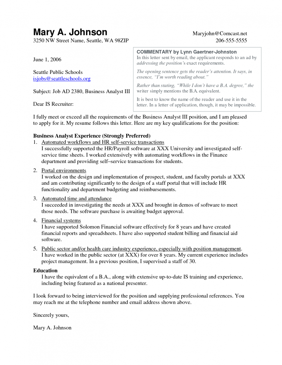 Cover Letter Business Analyst Resume Objective Examples Junior
