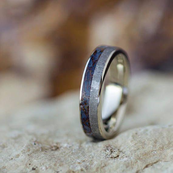 Thin Meteorite Fossil Ring 14k White Gold Wedding Band With Mens Wedding Bands Meteorite White Gold Wedding Bands Meteorite Engagement Ring