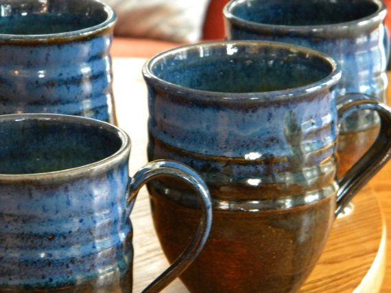 Ceramic Mug, Cobalt Blue And Aqua Green