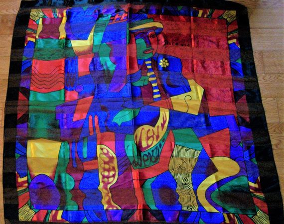 Vintage Artist Picasso Jewel Tone 39 Inch Square Scarf Satin Sheer Woven Stripes Multi Color