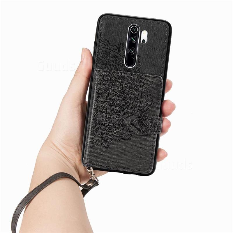 Mandala Flower Cloth Multifunction Stand Card Leather Phone Case For Mi Xiaomi Redmi Note 8 Pro Black Xiaomi Redmi Note 8 Pro Cases Guuds Leather Phone Case Flower Mandala Phone Cases