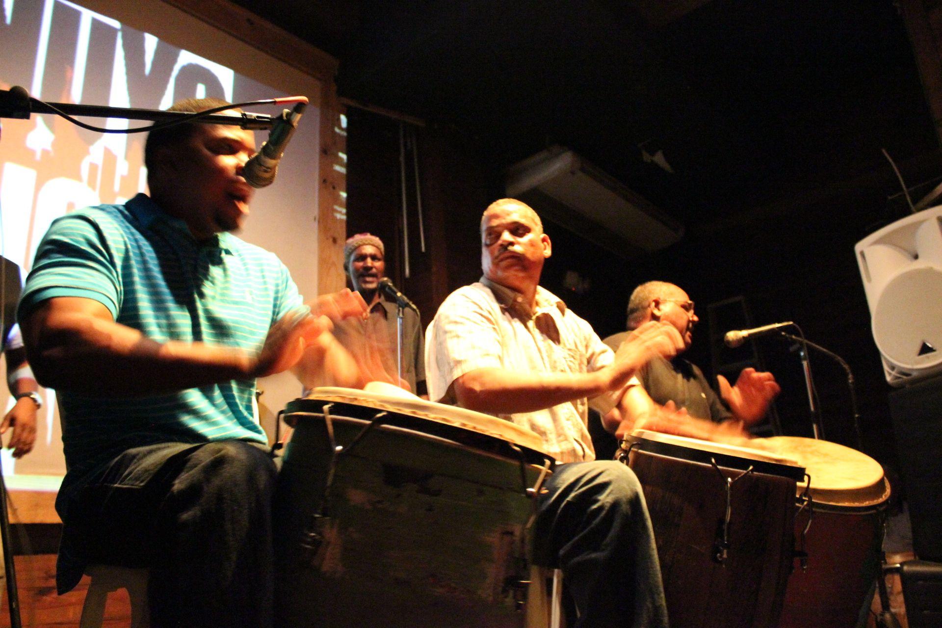 Los Seis del Barrio at the Nuyorican Cafe in Old San Juan, Puerto Rico - bomba y plena  (photo credit - Mickela Mallozzi ©2012)