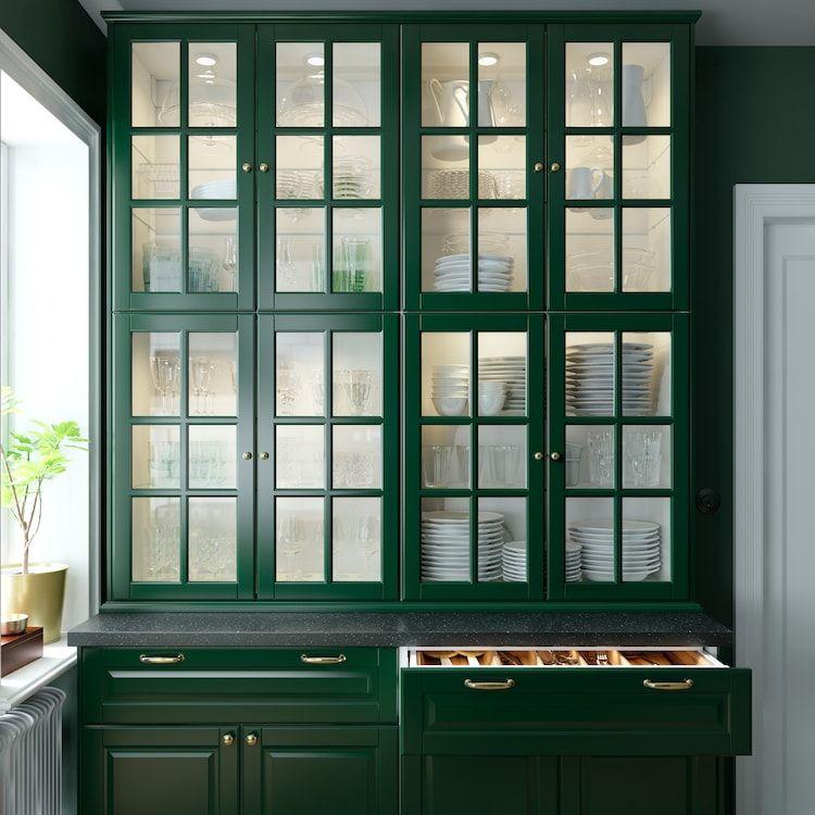 A Green And Fresh Bodbyn Kitchen In 2020 Ikea Kuche Grune Kuchenschranke Kuche Grun