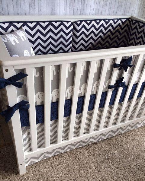 Navy And Gray Elephant And Chevron Crib Bedding Custom Bebe Textiles Crib Bedding Boy Crib Bedding Navy Crib Bedding