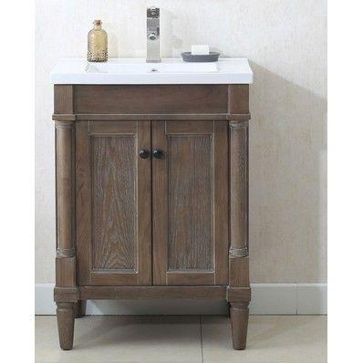 "Nora 24"" Traditional Single Sink Bathroom Vanity in Weathered Grey"