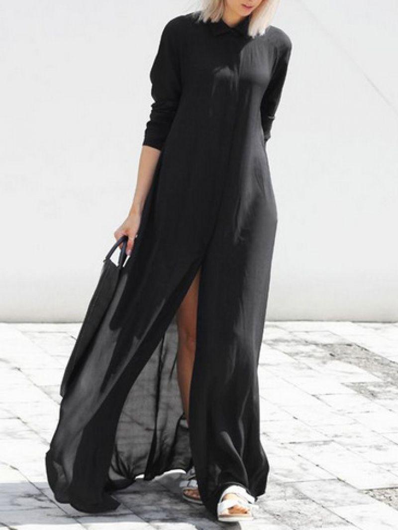 Buy Black Chiffon Maxi Shirt Dress From Abaday Com Free Shipping Worldwide Fashion Clothing Latest Stre Maxi Dress With Sleeves Maxi Shirt Dress Maxi Dress [ 1064 x 800 Pixel ]