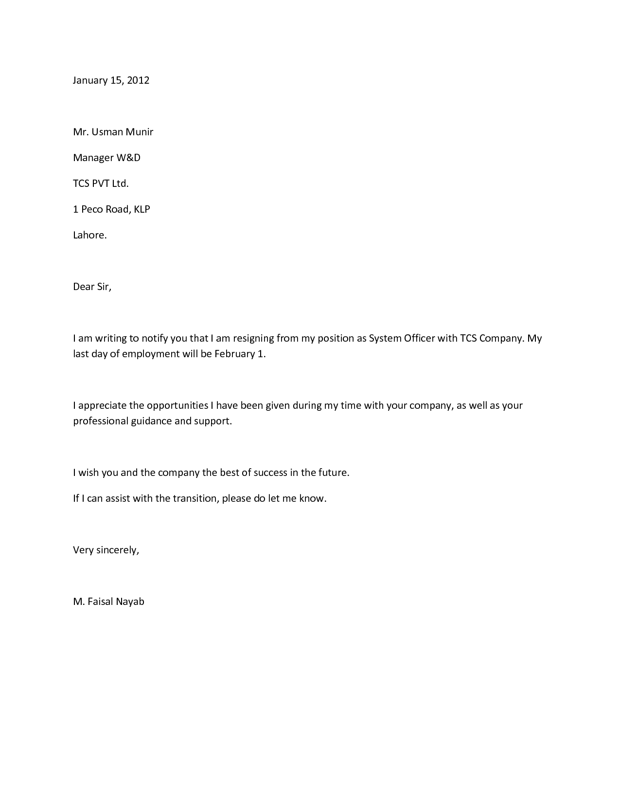 resignation letter for it professional