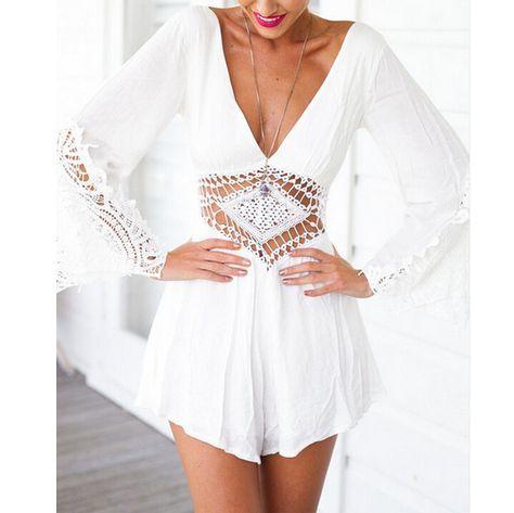 White lace jumpsuit #chiffonshorts
