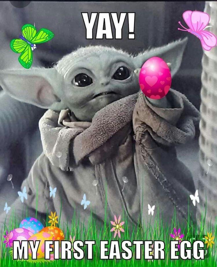 Pin By Jennifer Sidun On Baby Yoda Funny Easter Memes Easter Humor Yoda Meme