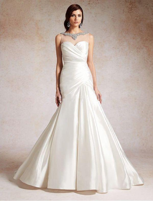 Taffeta and Netting Mermaid Wedding Dress with Illusion Neckline ...