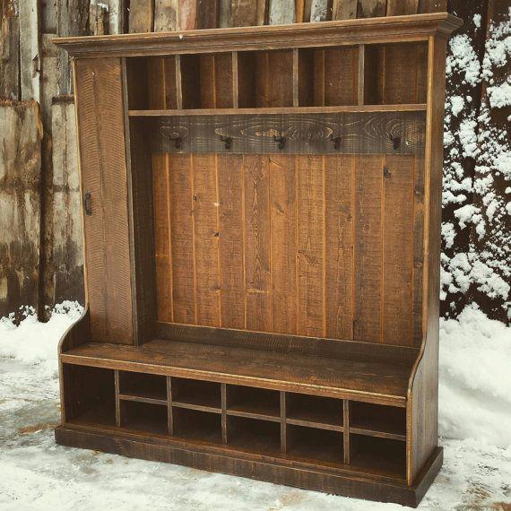 Custom Rustic Reclaimed Hall Tree Locker Bench For