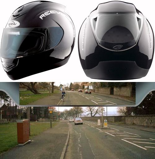 Helmet with Rear View. What a great safety idea.