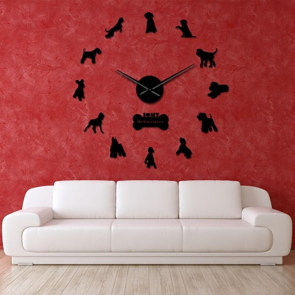 I Love My Schnauzer Dog Breeds Diy Large Wall Clock Schnauzer Dog Decorative Stickers Watch Pet Vet Wall Decor Dog Oweners Gifts Giant Wall Clock Clock Wall Clock Frameless