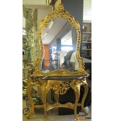 consolle marmo nero intarsiato foglietta oro con specchio