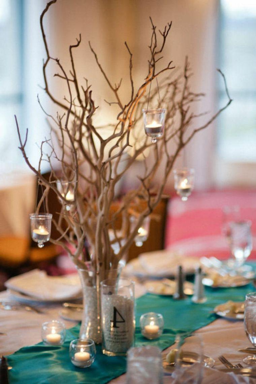 Centre de table mariage avec des branches s ches centre Decoration de table idees