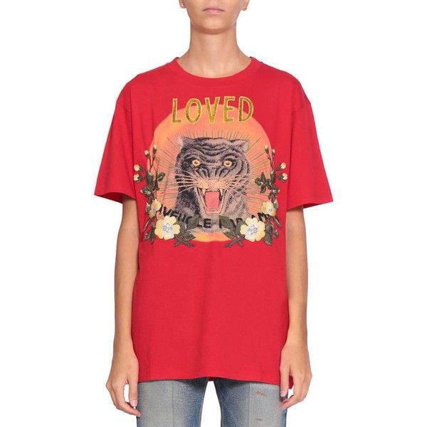 420f777d100 Gucci Loved cotton t-shirt Lindelepalais.com 90709 ( 996) ❤ liked on  Polyvore featuring tops