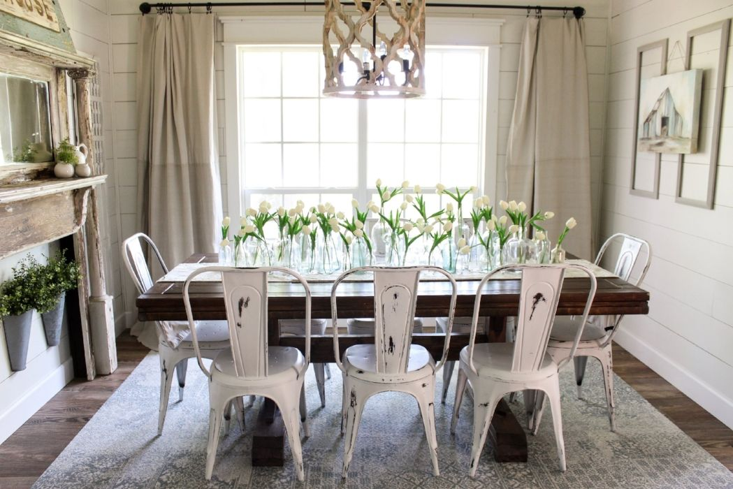 Crazy Rug Idea For Kids And Pets Flor Squares Farmhouse Dining Room Table Farmhouse Dining Diy Dining Room