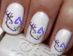 50pc Blue On Purple DBL Buck N Doe Love Heart Nail Decals Nail Art Nail Stickers Best Price NC1460