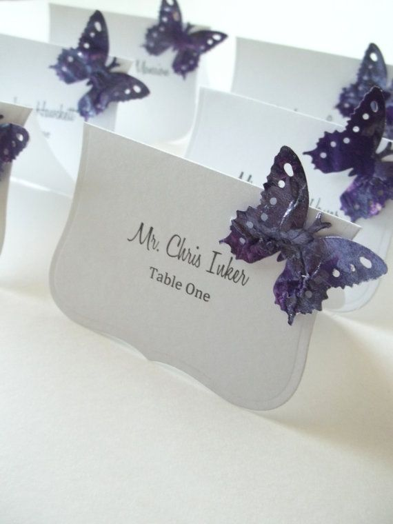 Nice card shape. Purple and White Wedding Place Cards Wedding Escort Cards. could put lavender sprig instead of butterfly.