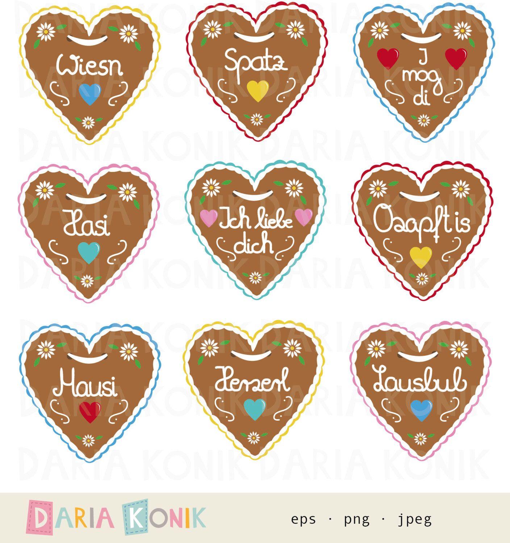 gingerbread heart clipart set oktoberfest clipart 9 different hearts eps png jpeg instant. Black Bedroom Furniture Sets. Home Design Ideas