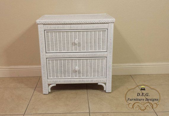 Lexington Henry Link White Wicker Two Drawer Commode Nightstand Tray Shelf