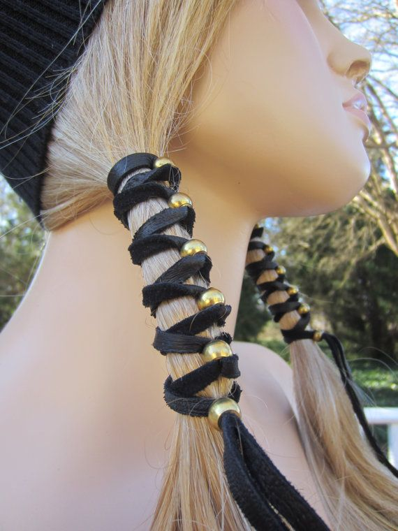 2 Black Leather Hair Wrap Ponytail Holder With Antique Br Gold Or Silver Beads 19 50