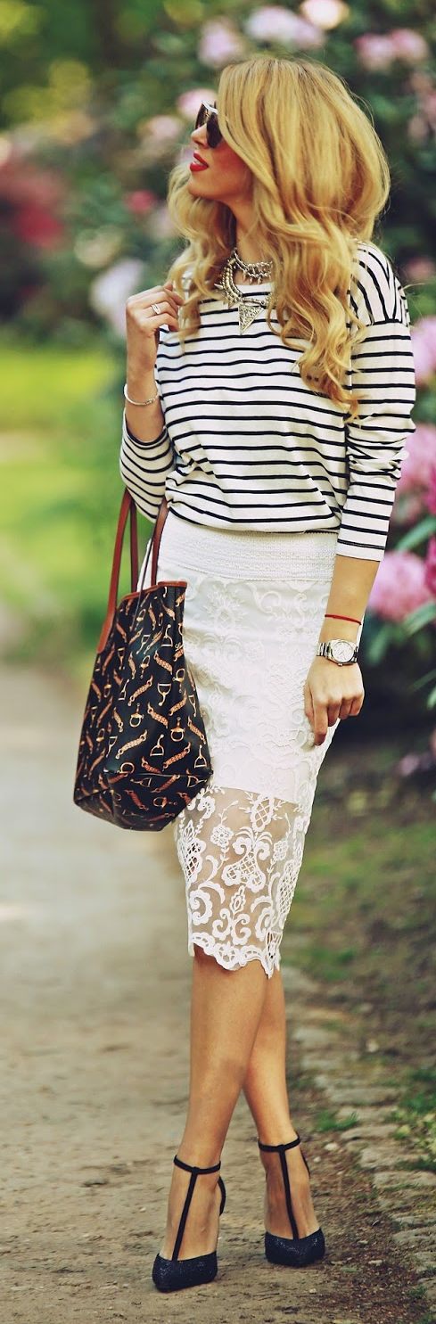 Stripes And Lace Chic Style by Fashion Painted Dreams