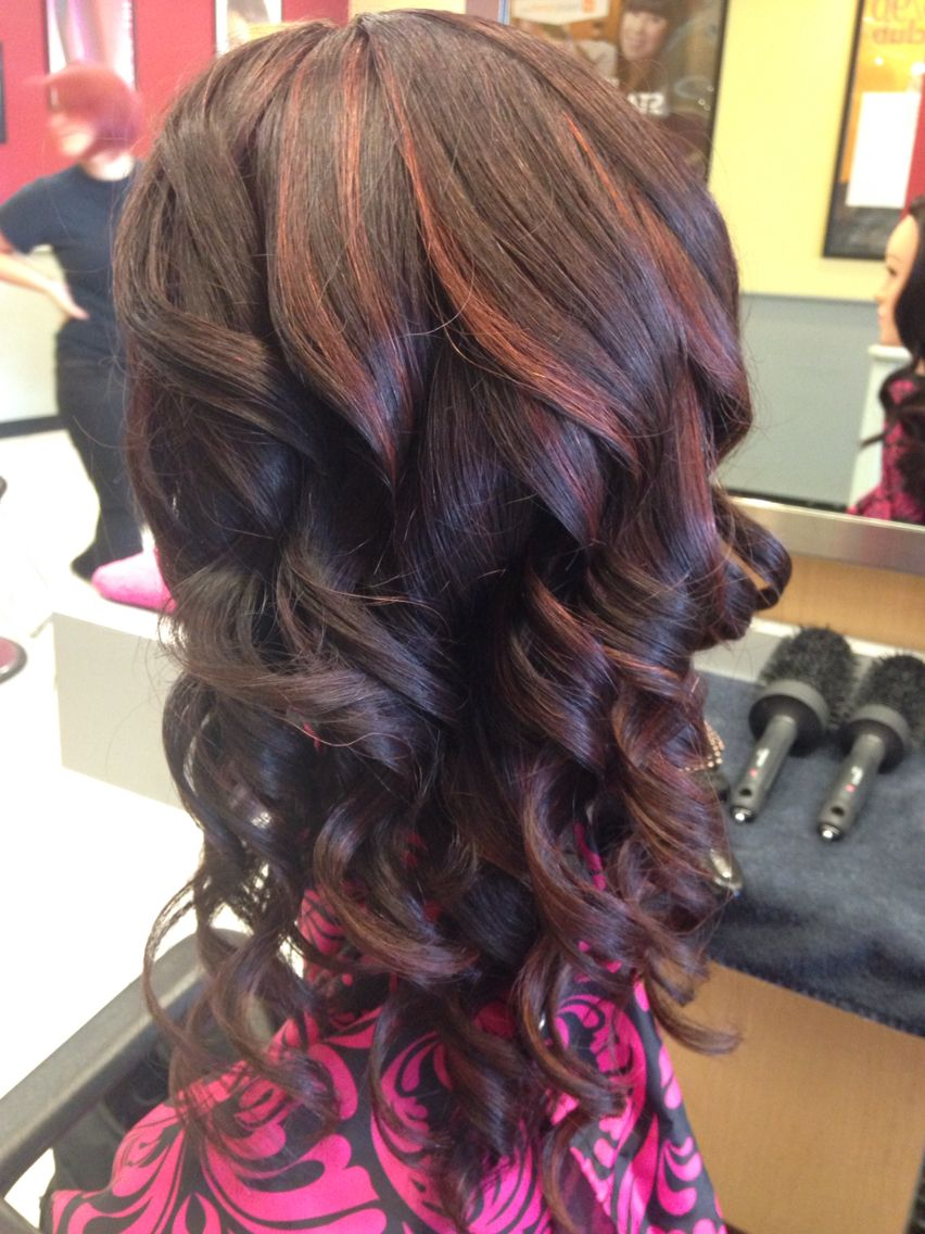 Dark Brownred With Red Peekaboo Highlights My Portfolio Before