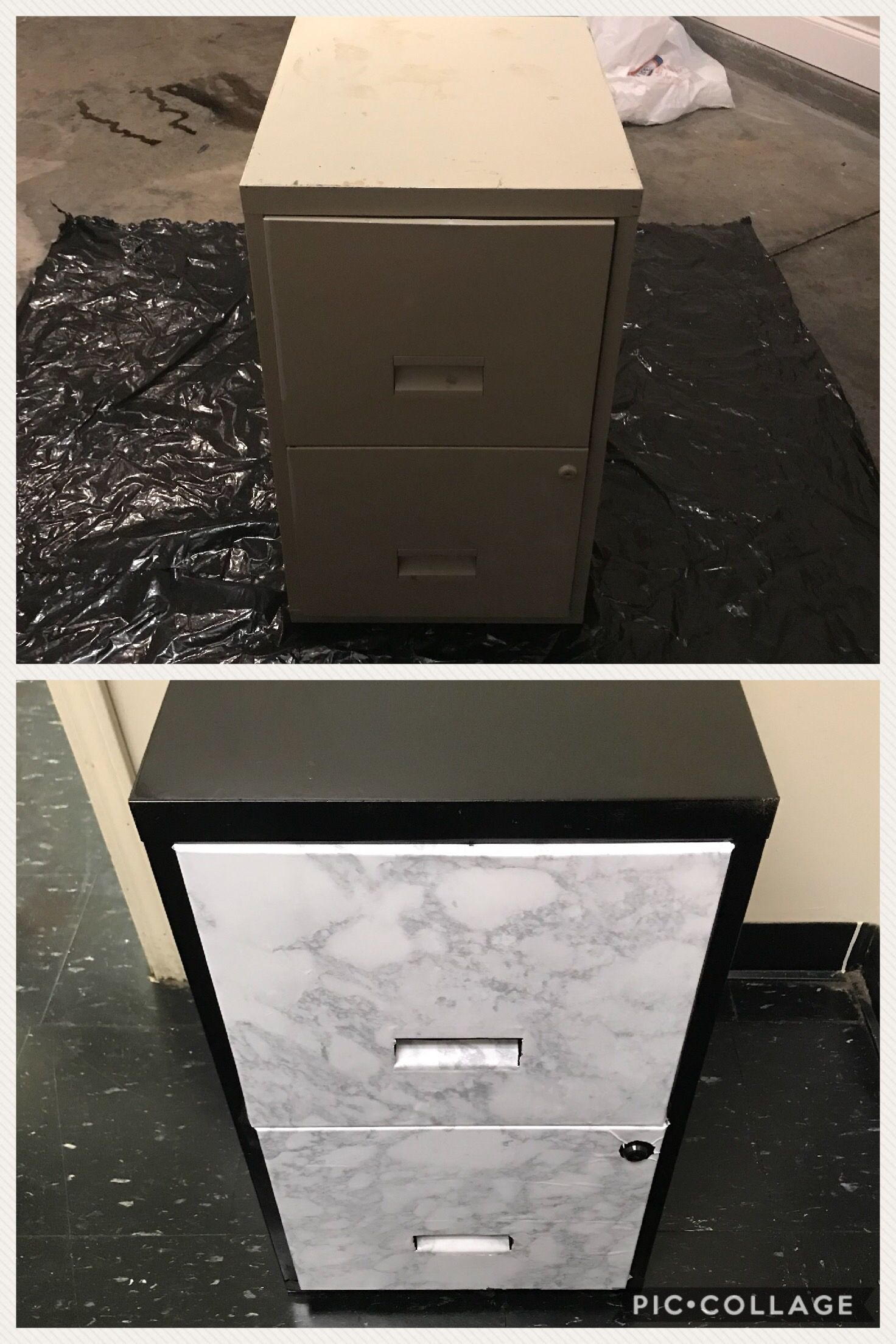 My First Diy Filing Cabinet Transformation Spray Paint Marble Contact Paper Filing Cabinet Contact Paper Psychotherapy Office Decor