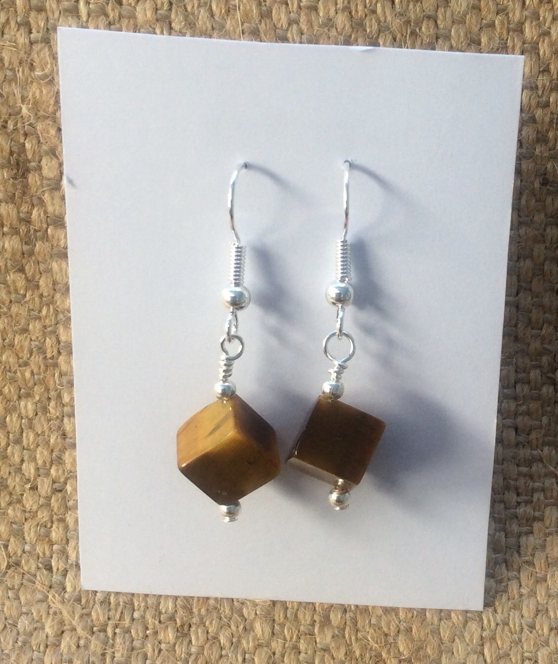 Tigers eye earrings from Mums jewellery shed on Facebook.
