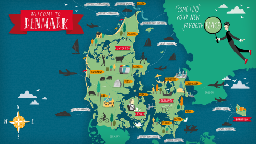 Maptitude1 Illustrated Map Denmark Map Drawn Map
