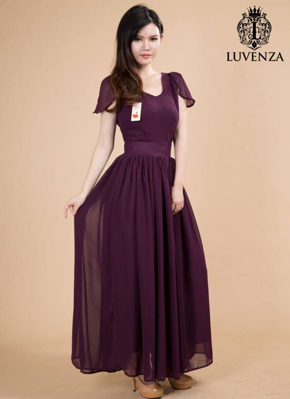 08c61a410 V Neck Maroon Maxi Dress with Flutter Cap Sleeves and Waist Yoke - V Back Maxi  Dress - Purple Maxi D