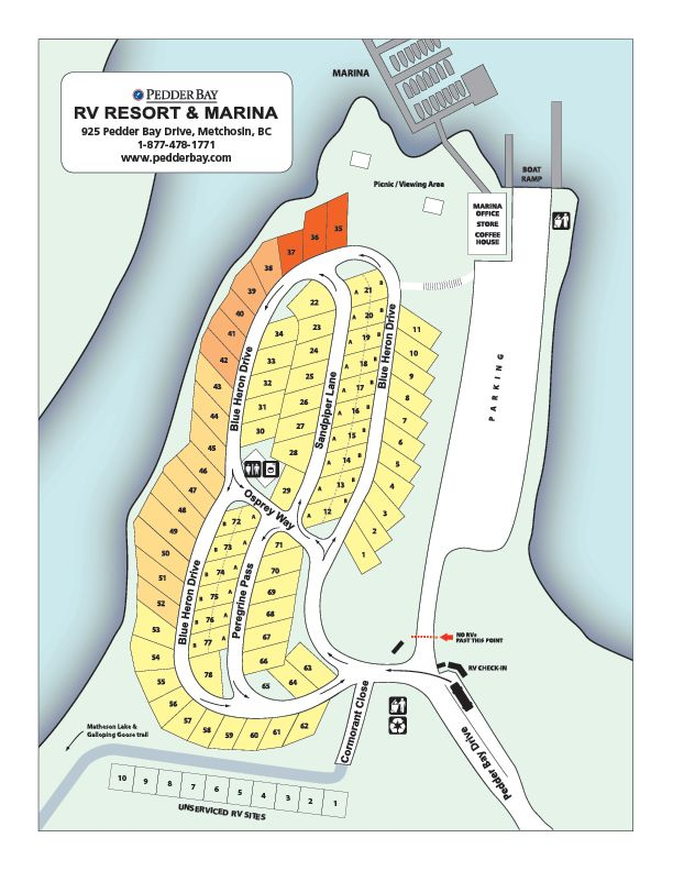 Map Of Rv Sites At Pedder Bay Rv Resort In Victoria Bc Canada Rv Sites Rv Resort