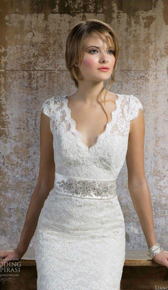 Cute Elegant V neck Lace Wedding Dress for Older Brides Over