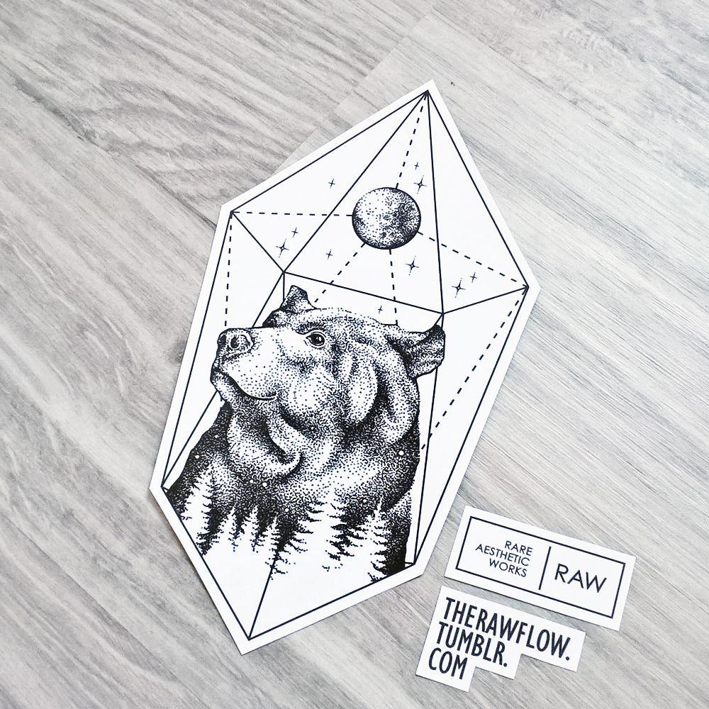 Dotwork Bear Nature Galaxy Tattoo Design For At Lizo23