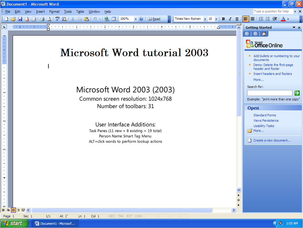 Microsoft Word Tutorial Introduction To Ms Word 2003 Computer