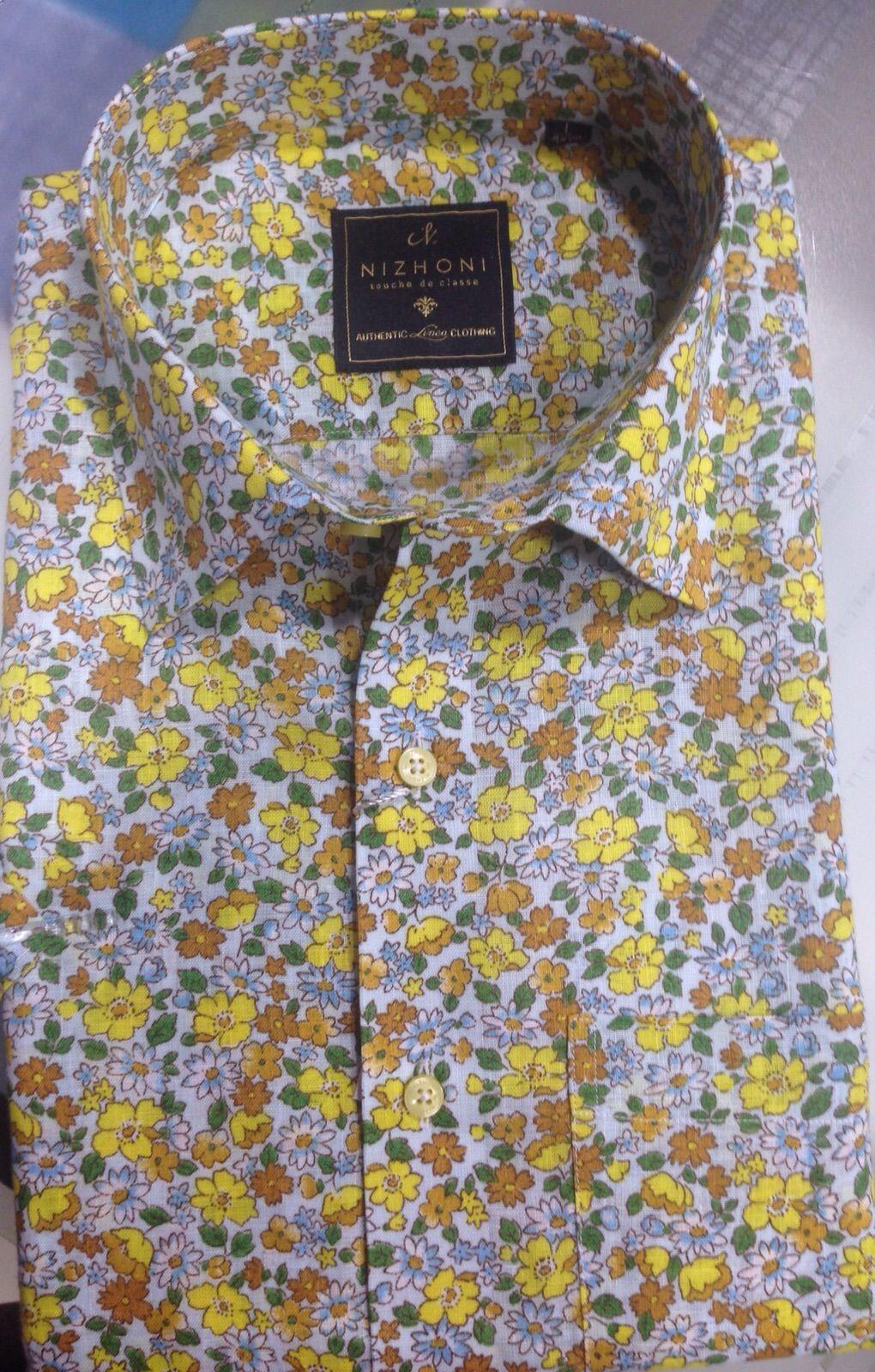 Mens Printed Nizhoni Shirt 100 Pure Linen Pure Linen Shirts Mens Tops