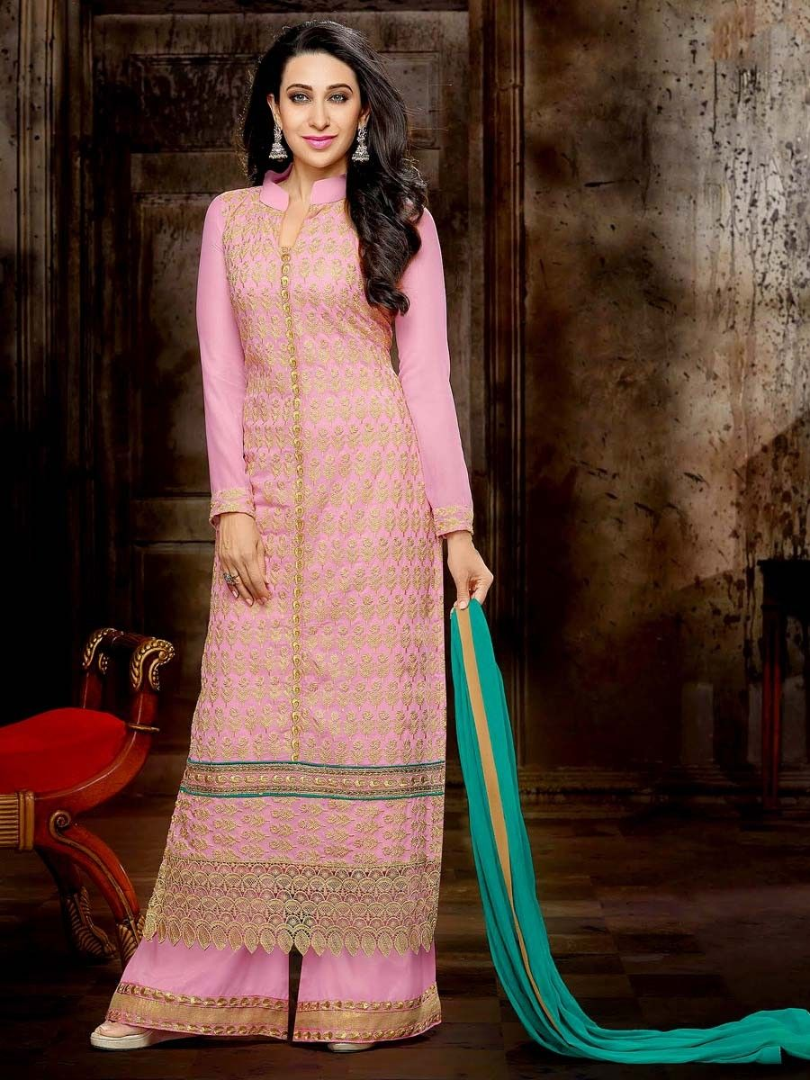 Miraculous light pink color long straight #Kameez crafted on #Georgette with golden zari work. Item code : SLEB8005 http://www.bharatplaza.com/new-arrivals/palazzo-suits.html