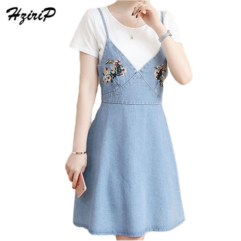 81c0c7ec405 HziriP 2017 Spring Summer Women Sexy V-neck Denim Sundress Vintage  Spaghetti Strap Jeans Dress Ladies Floral Embroidered Dresses  Affiliate