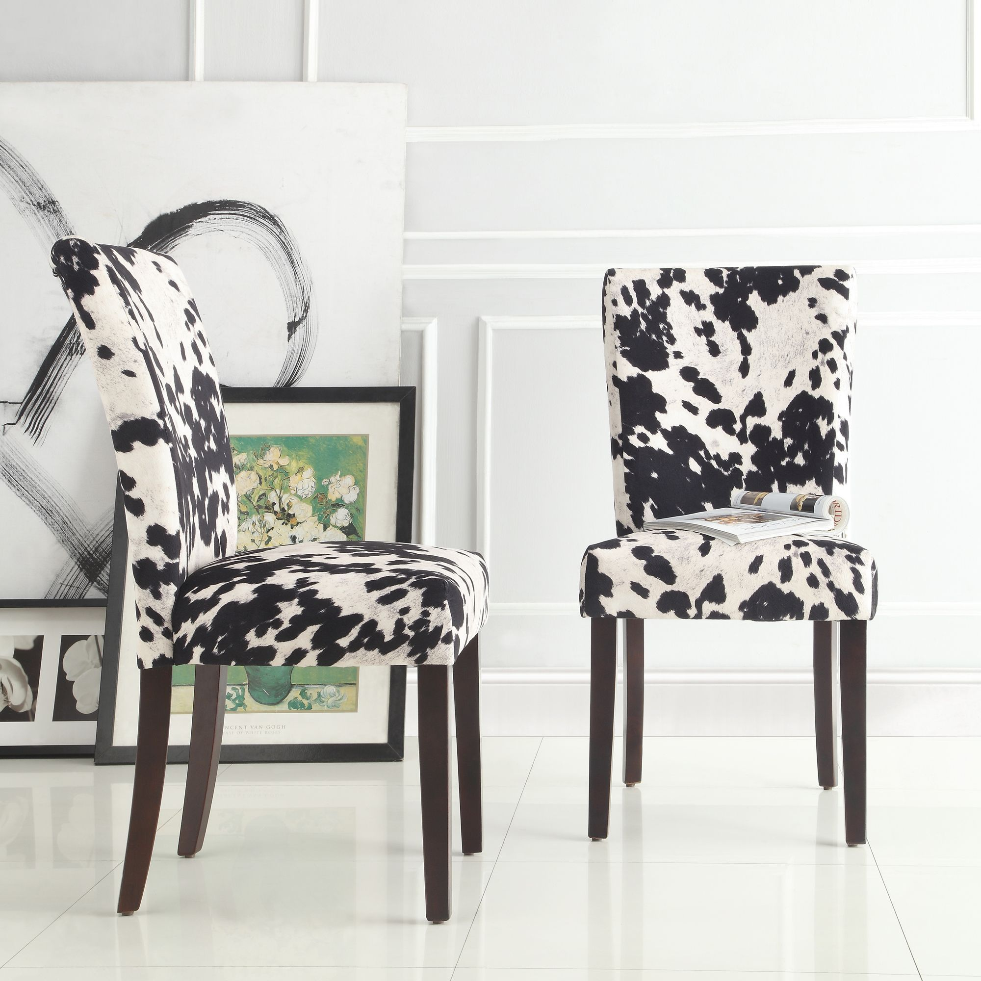 Portman Cow Hide Parson Dining Chairs Set Of 2 By Inspire Q Bold