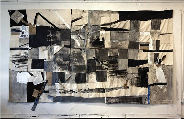 Cullen Washington, Jr. Untitled #1 2012 Canvas, paper, tape, found materials 7' x 12'
