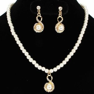 Ivory in Gold Bridesmaid Pearl Necklace Set Elegant Wedding Jewelry