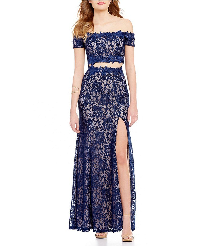 62c1db306e7 Sequin Hearts Off-the-Shoulder Two-Piece Glitter Lace Scalloped-Trim Long  Dress