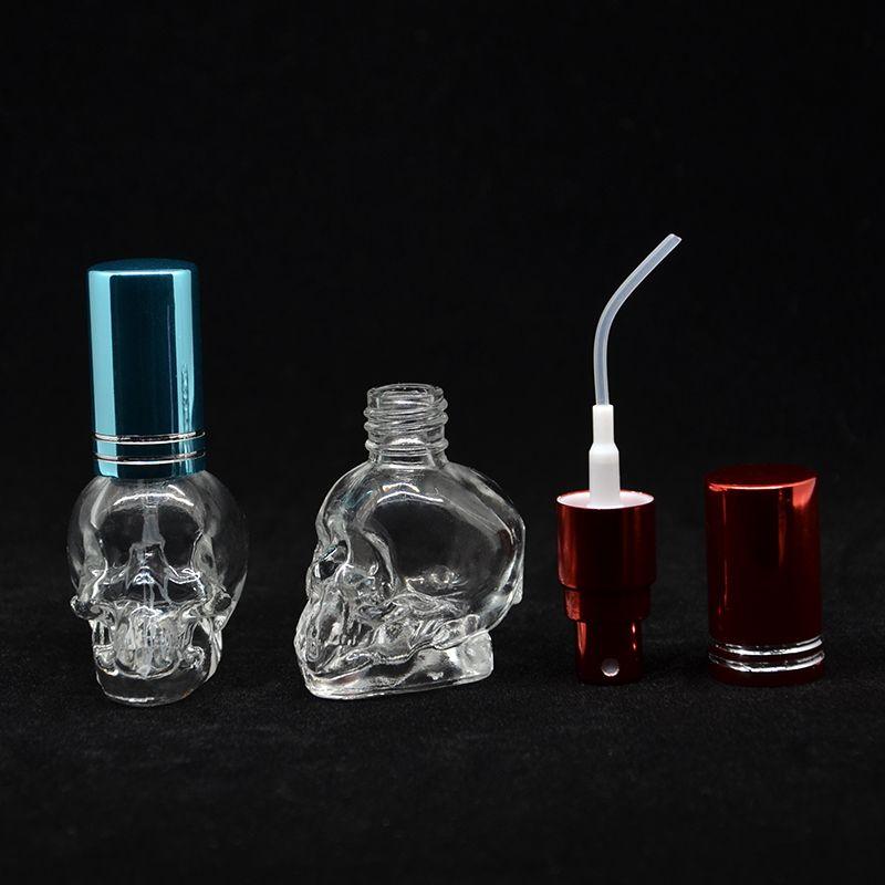 (1 개/몫) 8 미리리터 믹스 컬러 두개골 모양 미니 작은 빈 유리 향수 병 유리 샘플 병 알루미늄 캡 스프레이