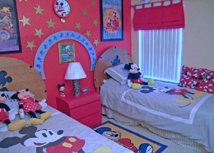 White Red Twin Bed For Girls With Mickey Minnie Mouse Theme